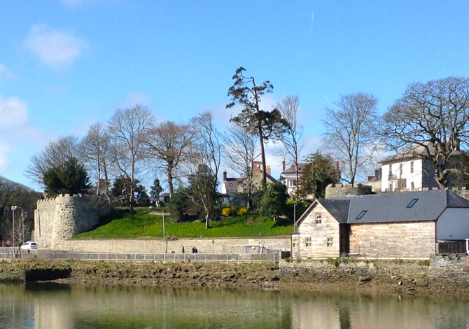 Cardigan Castle from across River Teifi