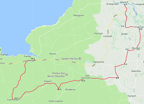 Cardigan Ceredigion to Newport Pembrokeshire via Cwm Gwaun