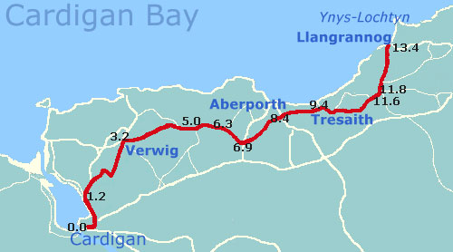 Cycle from Cardigan to Llangrannog West Wales Map