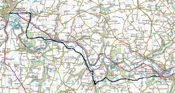 Cycle from Cardigan to Newcastle Emlyn West Wales Map