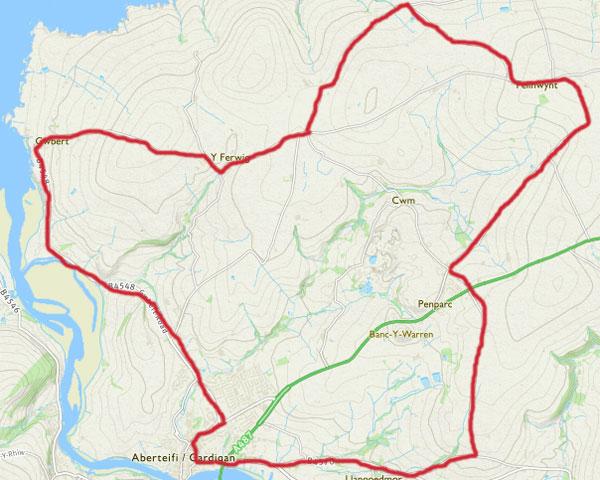 Circular cycle route Cardigan