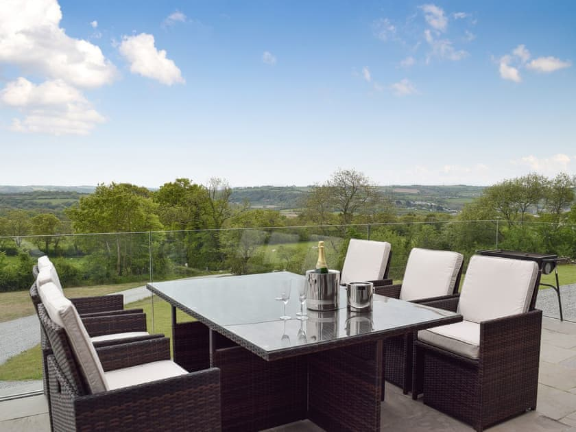 Outdoor dining area with spectacular view