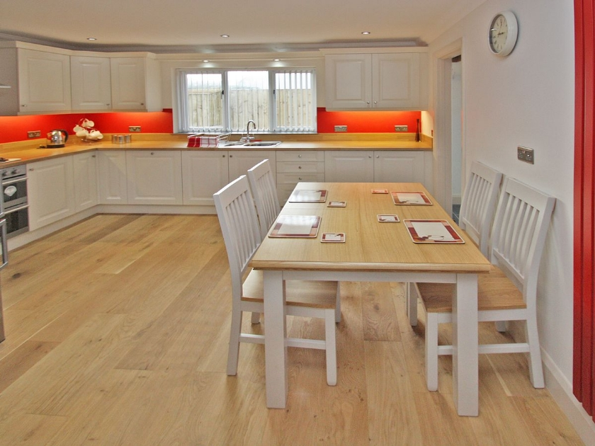 Open plan dining newly fitted kitchen