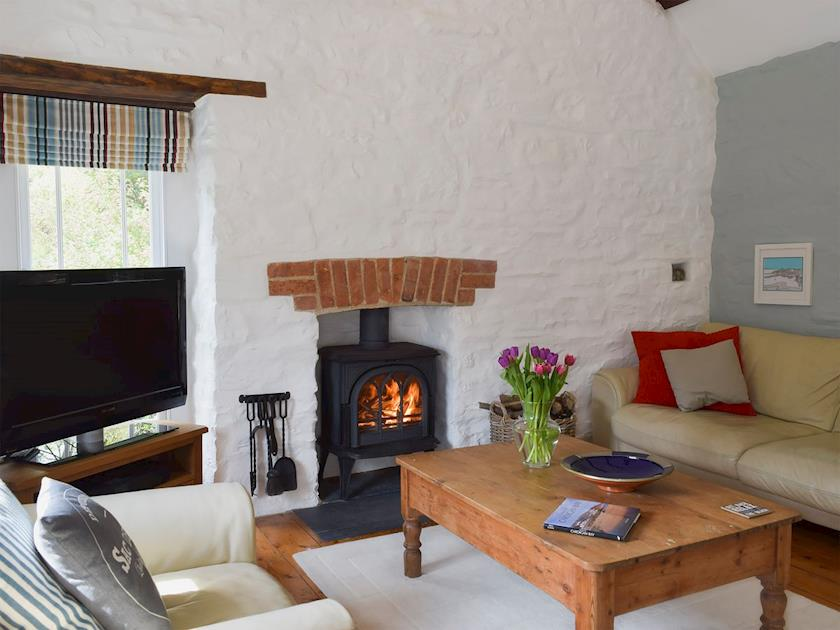 Holiday Cottage Aberporth living room with solid fuel stove
