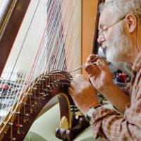 Harpmaker Allan Shiers servicing Welshp