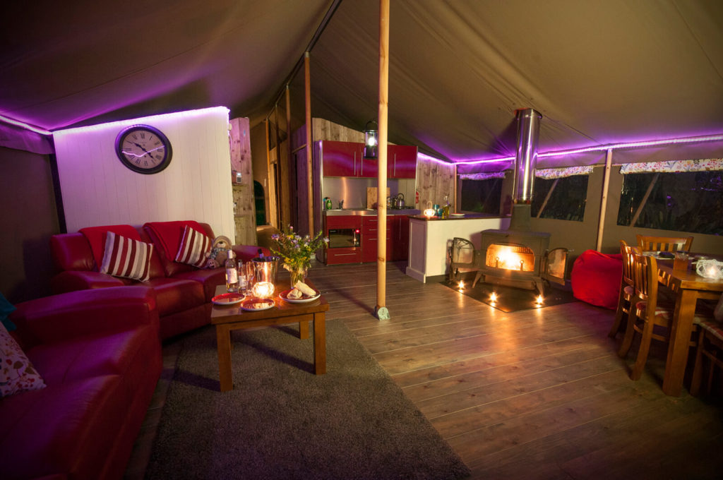 Safari Tent at night west Wales