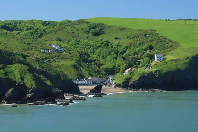 Llangrannog Beach from Sea Cardigan Bay by Janet Baxter