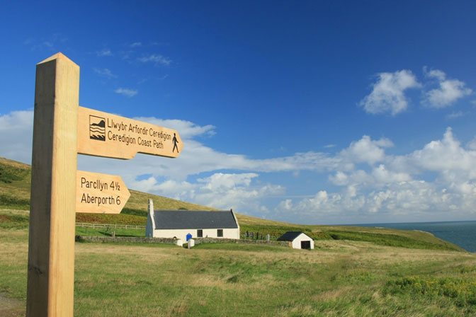 Mwnt church above the beach
