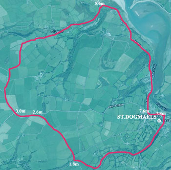 Cycle St.Dogmaels to Poppit and back Map