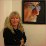 Artist Sarah Hope with her work at the discerning eye exhibition